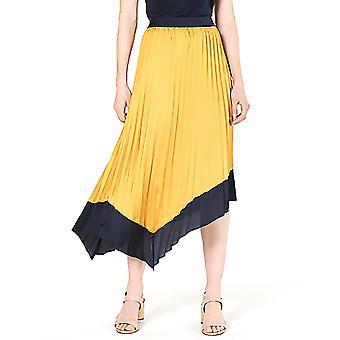 Bar III | Asymmetrical Tipped Pleated Midi Skirt