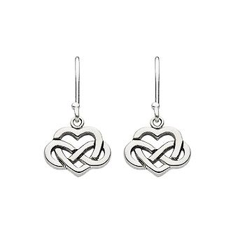 Erfgoed Sterling Silver Celtic Heart Met Knot Drop Oorbellen 6265PK026