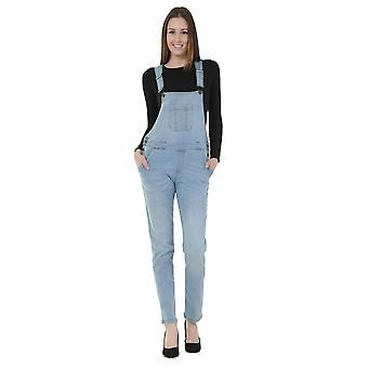 Womens basic denim dungarees - lightwash bib overalls regular size 8