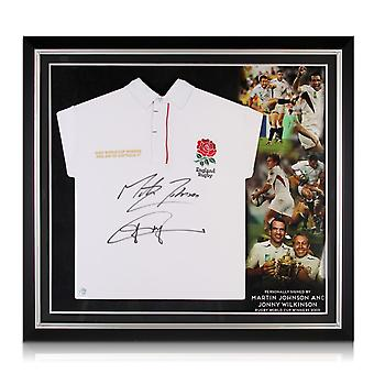 Jonny Wilkinson And Martin Johnson Signed England Rugby Shirt. Premium Frame