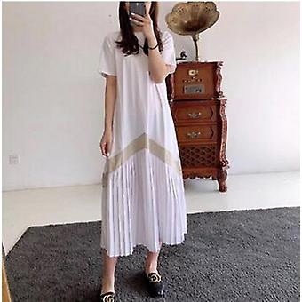 Short Sleeve O-neck Ruffles Patchwork Maternity Summer Cotton Dress Plus Size