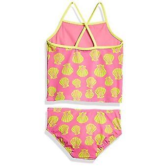 Brand - Spotted Zebra Girls' Tankini Swimsuit, Pink Shells, Large (10)