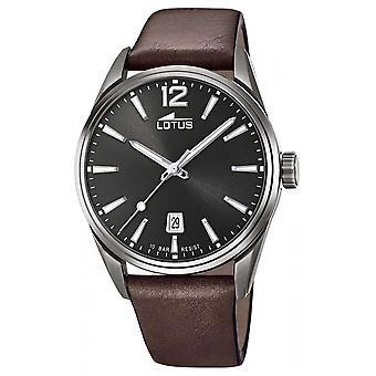 Lotus Men's Bracelet en cuir brun | Montre Black Dial L18685/1