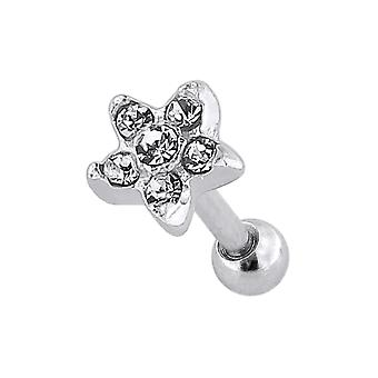 Multi Crystal Stone Star 925 Sterling Top with 16 Gauge Surgical Steel Cartilage Helix Tragus Ear Piercing Jewellery