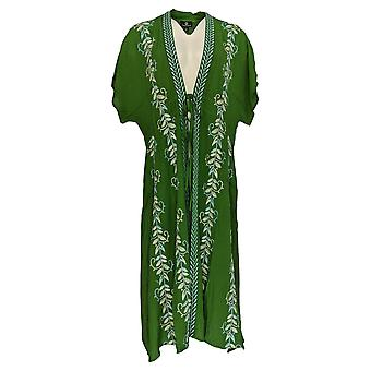 Curations Women's Sweater Embroidered Tie Front Gauze Kaftan Green 688-950