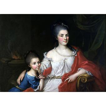 Portrait Of Bianca Ferrari Visconti With Her Daughter Elena Poster Print
