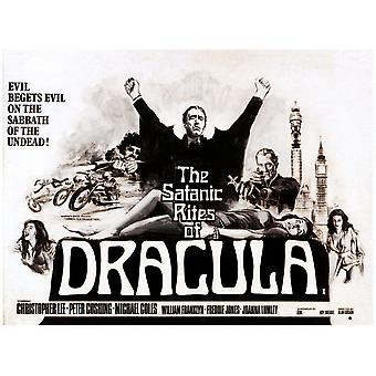 The Satanic Rites Of Dracula Center Christopher Lee Right Of Center Peter Cushing On Poster Art 1973 Movie Poster Masterprint