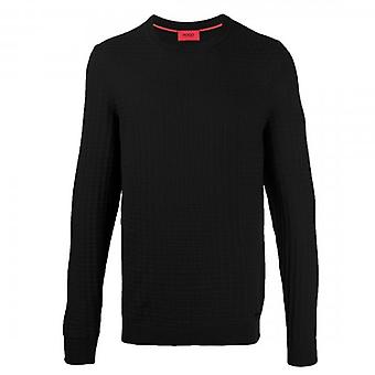 HUGO Boss Srever Textured Knit Crew Neck Jumper Black 50435590