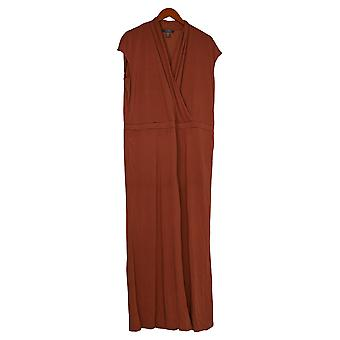 Lisa Rinna Collection Petite Jumpsuits Surplice Wide Leg Brown A353583