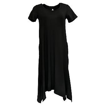 Cuddl Duds vestido punto Flexwear pañuelo hem negro A302367