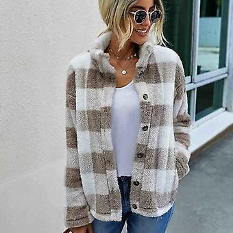 المرأة فو الفراء سترة قصيرة منقوشة الخريف شتاء جيب معطف