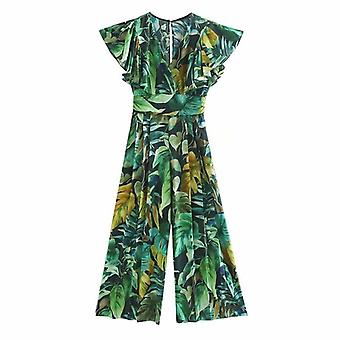 Women Tropical Green Leaves Print Wide Leg Pants, Siamese Rompers, Ladies