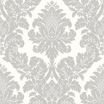 Pear Tree White Grey Glitter Damask