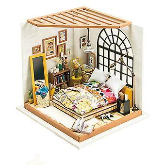 Alice's Dreamy Makuuhuone DIY Puinen Miniatyyri Nukkekoti 1:24 Käsintehty Nukkekoti Malli Rakennussarjat Lelut Lapsille Aikuinen