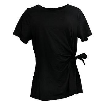 Belle by Kim Gravel Women's Top TripleLuxe Knit Short-Sleeve Black A374453