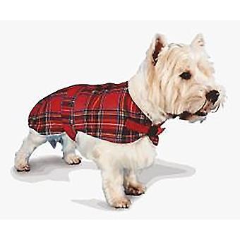 Pennine Fur Lined Red Tartan Dog Coat