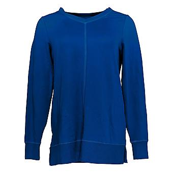 Belle By Kim Gravel Mujeres's Top Super Soft V-Neck Tunic Azul A383465