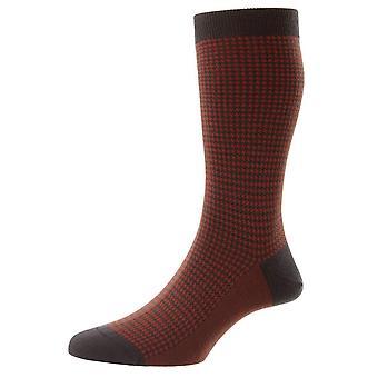 Pantherella Highbury Houndstooth Merino Wool Socks - Chocolate