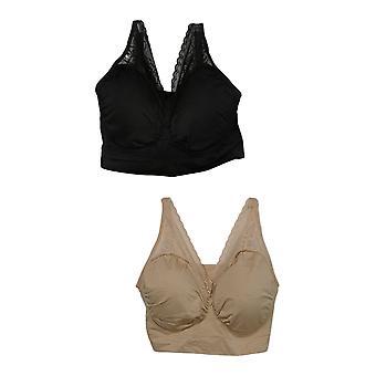Rhonda Shear 2-pack Sin costura Ahh Bra Beige Bra 689-488