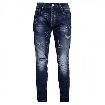 Kings Will Dream Stalham Skinny Stretch Mid Wash  Blue Denim Rip & Paint Jeans