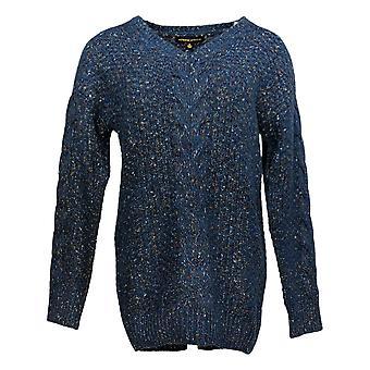 Adrienne Vittadini Women's Sweater Crew Neck Long Sleeve Pullover Blue
