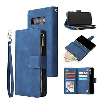 Stuff Certified® Samsung Galaxy S21 Ultra - Leather Wallet Flip Case Cover Case Wallet Blue
