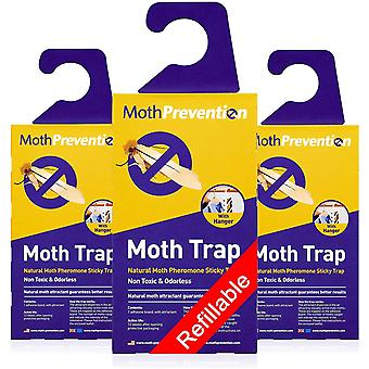 POWERFUL MOTH TRAPS FOR CLOTHES MOTHS | 3-Pack | Refillable, Odor-free & Natural from