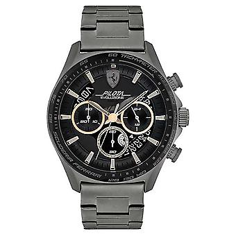 Scuderia Ferrari Men's Pilota Evo | Grey IP Steel Bracelet | Black Dial 0830824 Watch