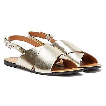 Vagabond Tia Cross Strap Womens Gold Sandals