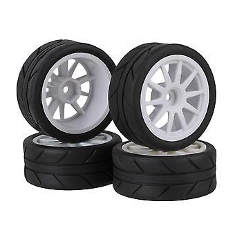 rc1: 10 på veien bil 10 eiker plast hjul felg hvit og pil gummi dekk sett med 4