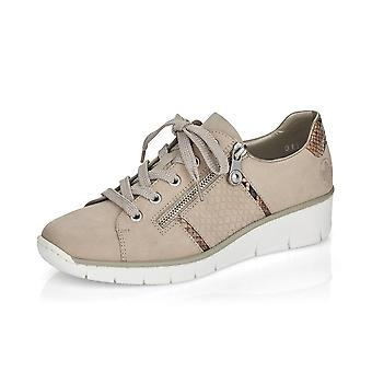 Rieker 53711-60 Columbo Smart Casual Lace-up Trainers In Beige