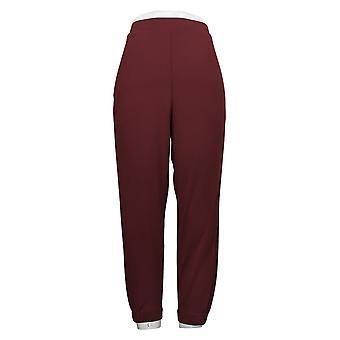 H by Halston Women's Petite Pants Knit Crêpe Jogger w/ Pockets Paars A311506