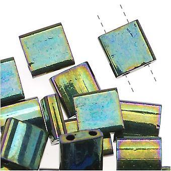 Miyuki Tila 2 hål Fyrkantiga pärlor Metallisk Grön Iris 7,2 Gram