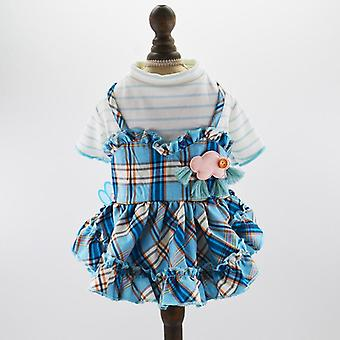 Dog cat clothes spring summer check overall dress bowknot small dog teddy