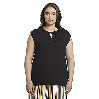 TOM TAILOR MY TRUE ME Quasten T-Shirt, 14482/Deep Black, 50 Woman