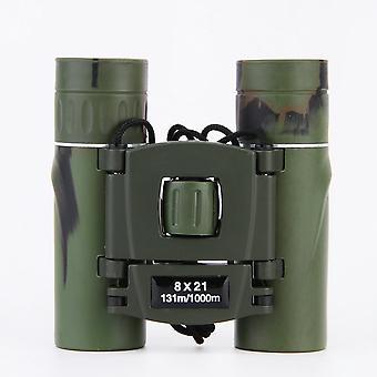 Mini binocolo 8x21 Binocolo compatto per bambini adulti, telescopio pieghevole all'aperto per birdwatching, concerti, sport, escursionismo, caccia al campeggio (verde)