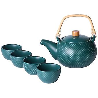 Ceramic Teapot Coffee Cup Set Gift for Drinking Tea Latte Espresso Water including Tea Pot With 4 Teacups