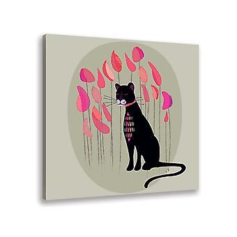 Czarno-różowy obraz dziecięcy pantery