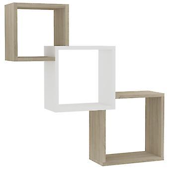 vidaXL Cube Wandregale Weiß Sonoma-Eiche 84,5×15×27 cm Spanplatte