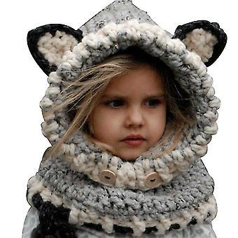 Grå vinter varm øreklokker lue skjerf kreativ fox ull strikket sjal hette skjerf gaver til gutter og jenter i alderen 3-12 x4163
