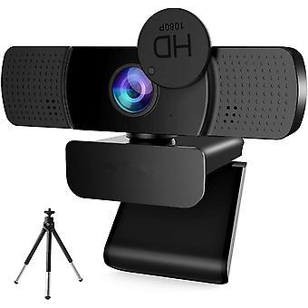 كاميرا ويب بدقة 1080P مع الميكروفون، مصراع الخصوصية وترايبود لمكالمات الفيديو، دروس عبر الإنترنت، مؤتمرات، يعمل مع سكايب، FaceTime، PC (أسود)