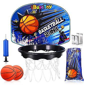 Ibasetoy Basketball Hoop With Laundry Hamper Bag Over The Door Household Kids Basketball Playset Backboard Basketball Net