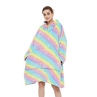 Ylis kokoinen huppari huopa collegepaita, puettava huopa, laiska huopa, erittäin lämmin ja viihtyisä (Rainbow2)