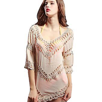 Bordado Verano Bikini Cover Up Suncreen Hollow Out Beachwear Blusa