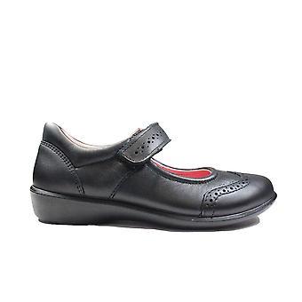 Ricosta Beryl 8520500-090 Black Leather Girls Brogue School Shoes