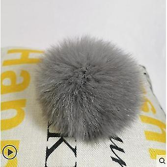 Käsintehty todella suuri karvapallo turkis Pompom solki (Fox Fur Gray)