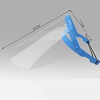 Reusable Adjustable Transparent Full Face Anti-spitting Protective Mask(Blue)
