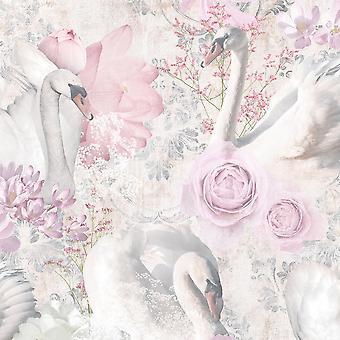 Holden Sisustus Fantasia Glitter Swans Vaaleanpunainen Taustakuva 90700