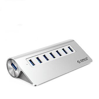 Aluminiu Bevel Design 7 Port USB 3.0 HUB Splitter de mare viteză cu adaptor de alimentare de 12V pentru PC Macbook
