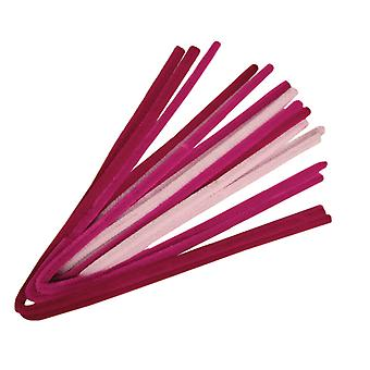 10 roze tonen 9mm Chunky Extra Long 50cm Pipe Cleaners | Chenille Stengels